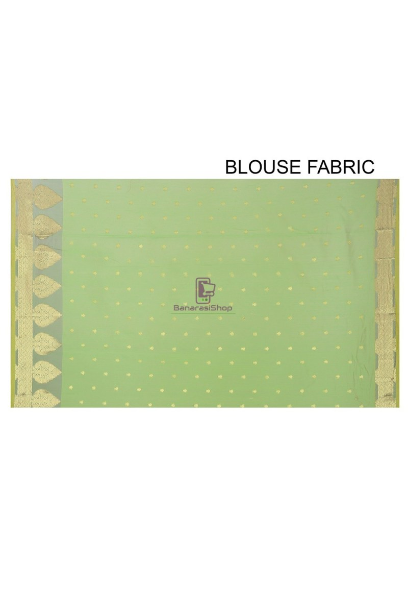 Woven Banarasi Chanderi Silk Saree in Light Green 2