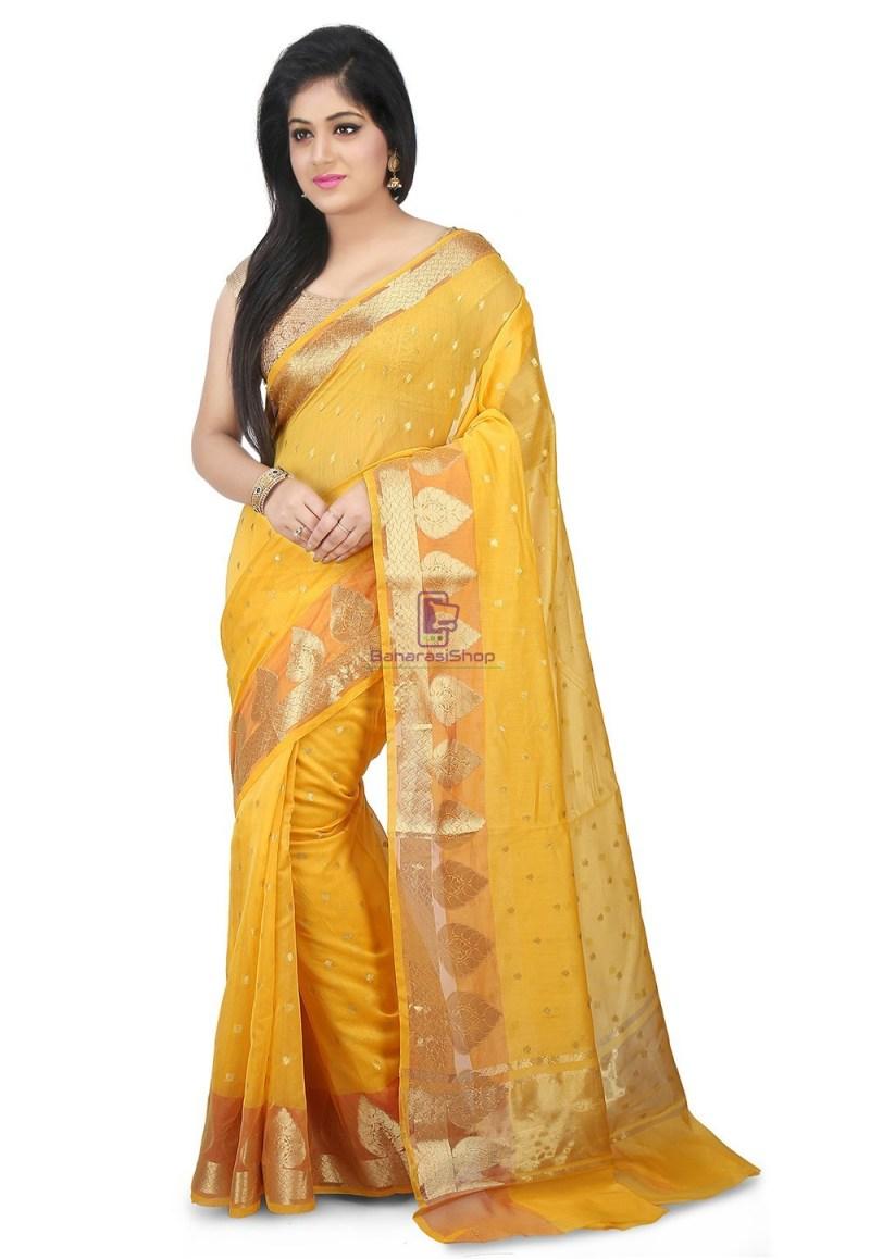 Woven Banarasi Chanderi Silk Saree in Yellow 1