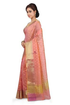 Woven Banarasi Cotton Silk Saree in Peach 9