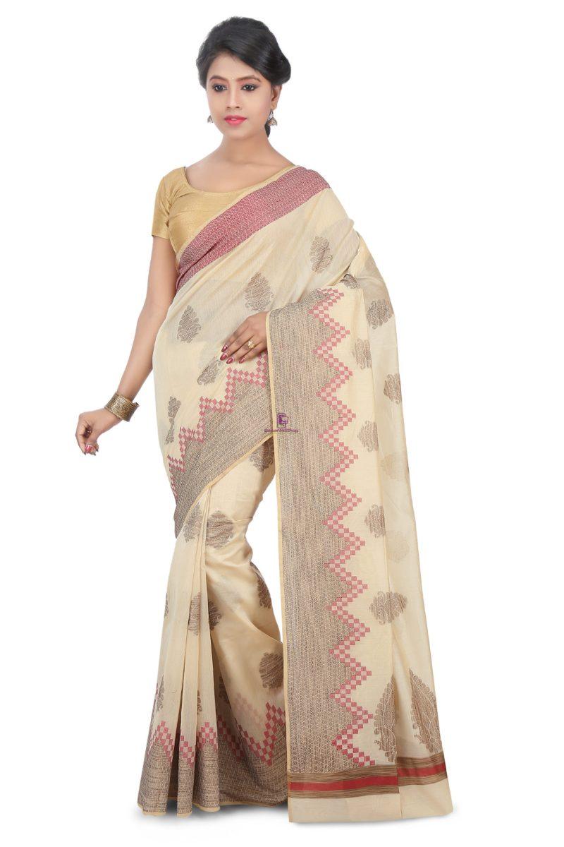 Woven Banarasi Cotton Silk Saree in Off White 1