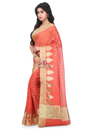 Woven Banarasi Chanderi Silk Saree in Coral Red 9