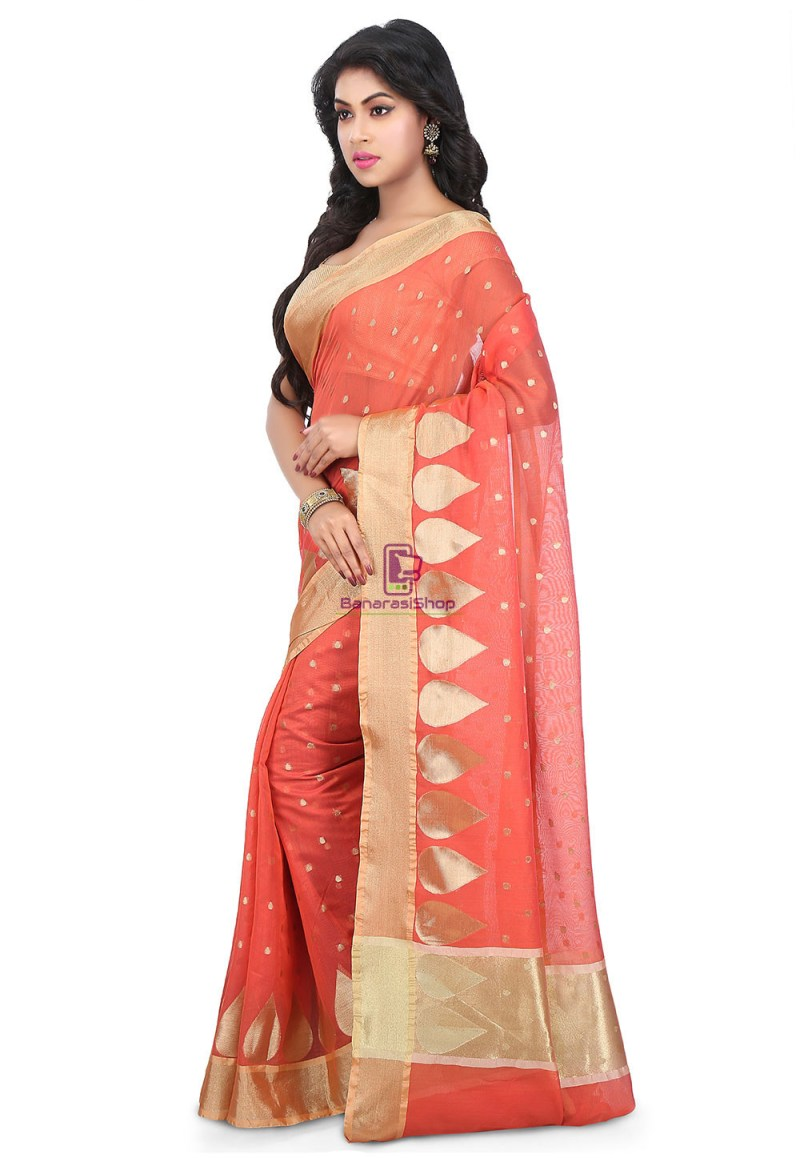 Woven Banarasi Chanderi Silk Saree in Coral Red 5