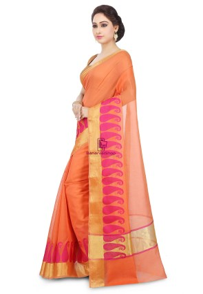 Woven Banarasi Chanderi Cotton Saree in Orange 9