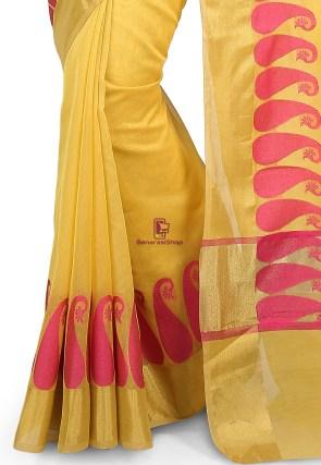 Woven Banarasi Chanderi Cotton Saree in Yellow 7