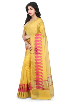 Woven Banarasi Chanderi Cotton Saree in Yellow 9