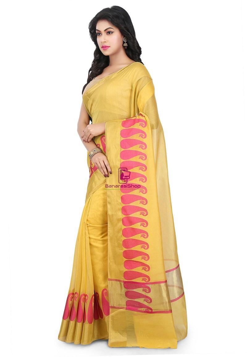 Woven Banarasi Chanderi Cotton Saree in Yellow 5
