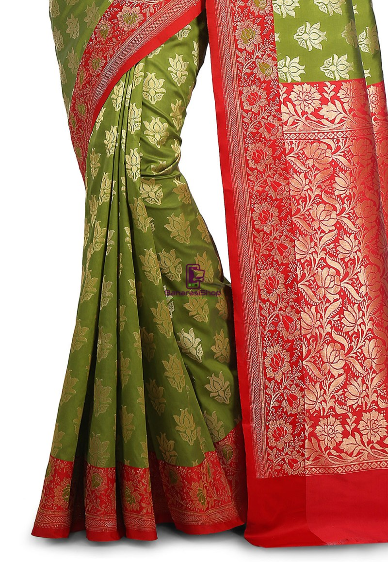 Woven Banarasi Art Silk Saree in Olive Green and Red 2
