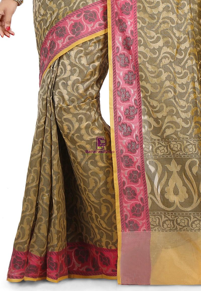 Woven Banarasi Cotton Silk Saree in Beige 3