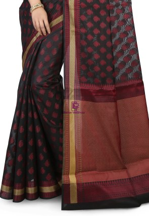 Woven Banarasi Chanderi Silk Saree in Black 4