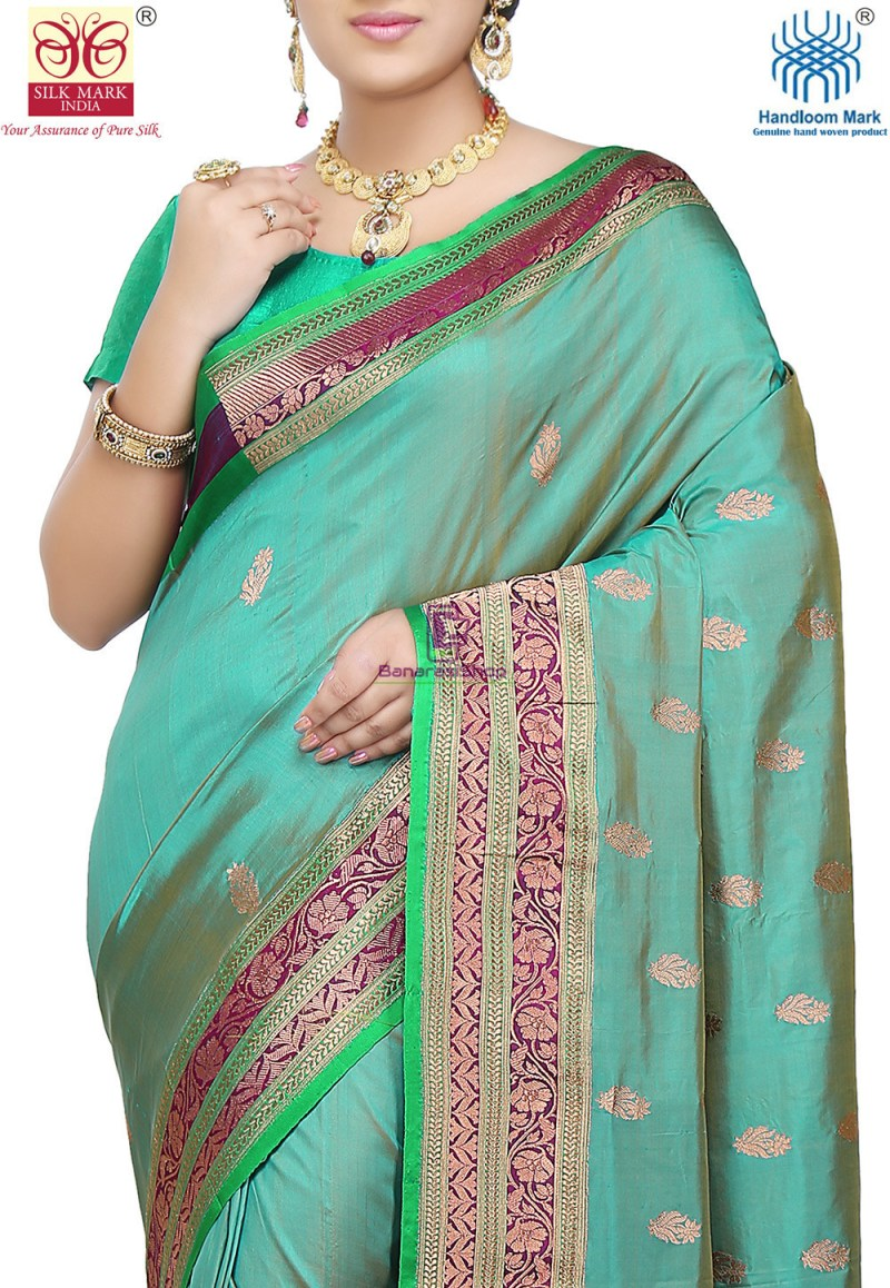 Banarasi Pure Katan Silk Handloom Saree in Teal Blue 2