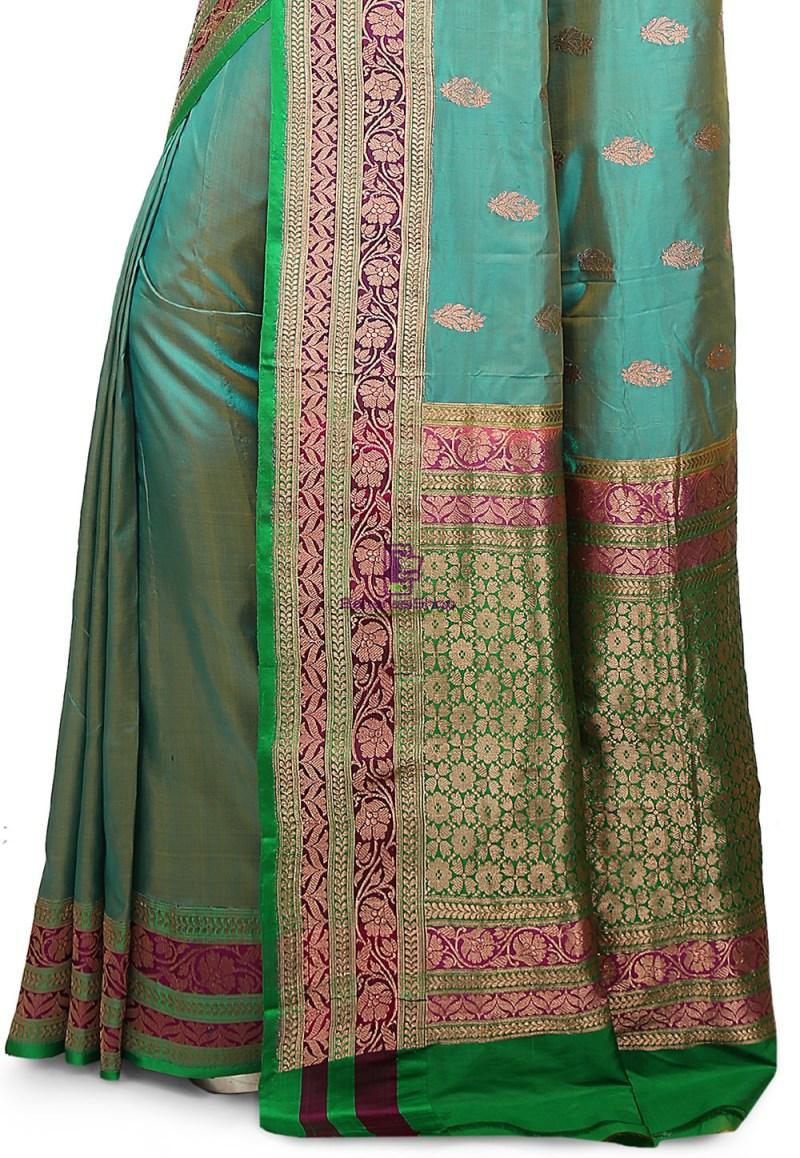 Banarasi Pure Katan Silk Handloom Saree in Teal Blue 3