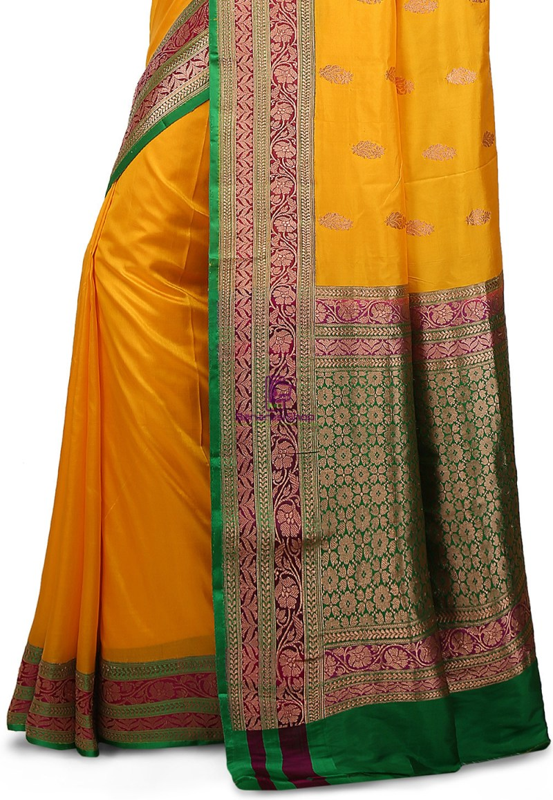 Banarasi Pure Katan Silk Handloom Saree in Yellow 3