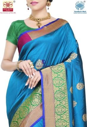 Banarasi Pure Katan Silk Handloom Saree in Teal Blue 6