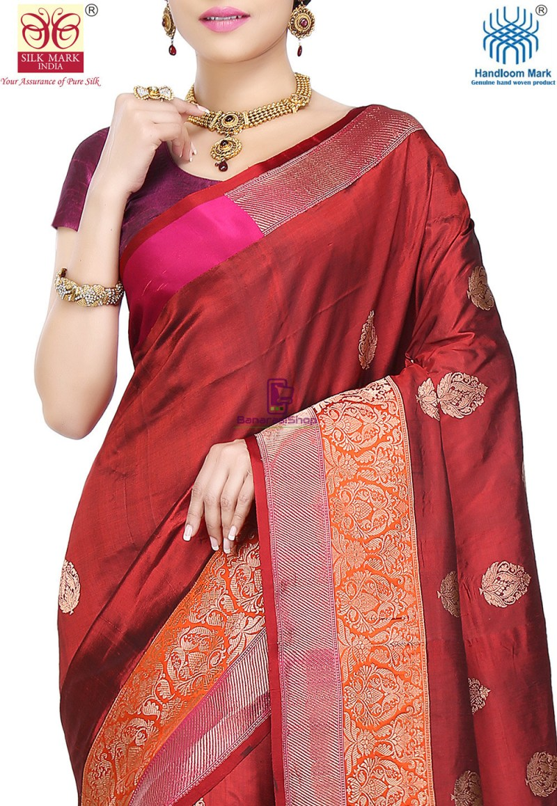 Banarasi Pure Katan Silk Handloom Saree in Maroon 2