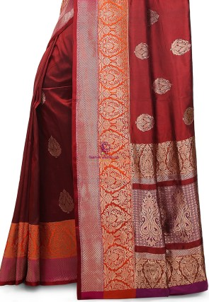 Banarasi Pure Katan Silk Handloom Saree in Maroon 7