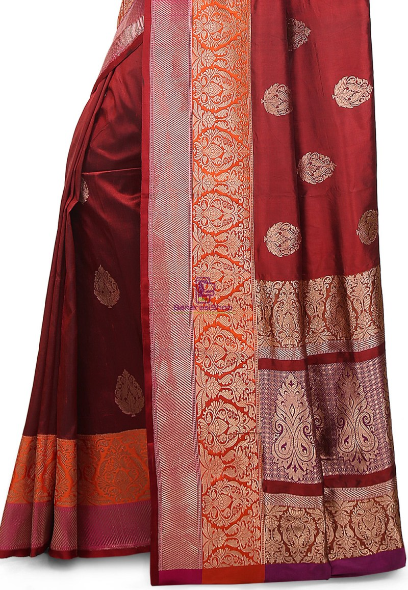 Banarasi Pure Katan Silk Handloom Saree in Maroon 3