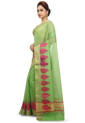 Woven Banarasi Cotton Silk Saree in Light Green 7