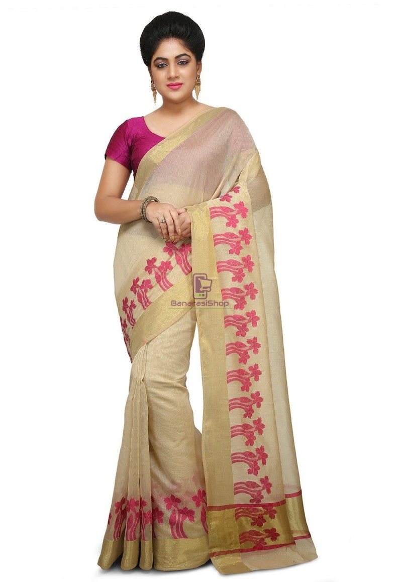 Woven Banarasi Art Silk Saree in Light Beige 1