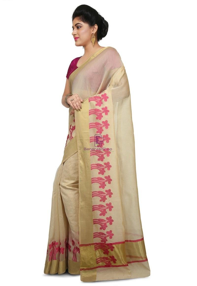 Woven Banarasi Art Silk Saree in Light Beige 2
