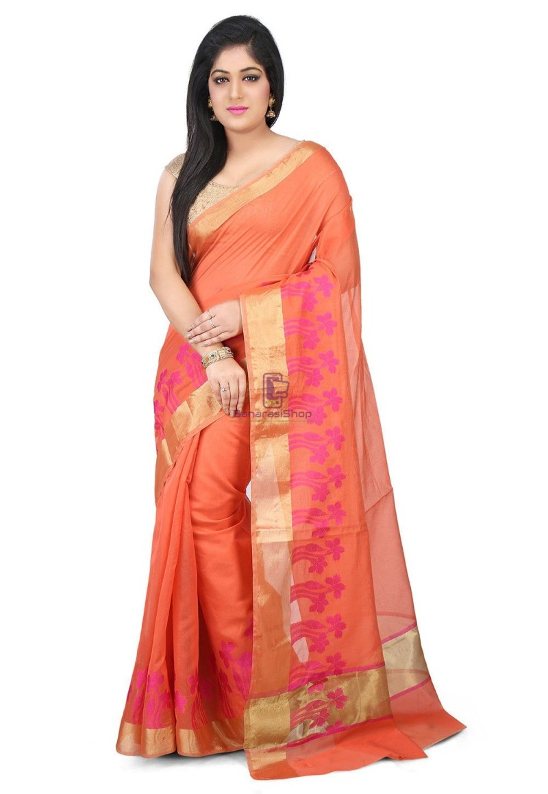 Woven Banarasi Chanderi Silk Saree in Peach 1