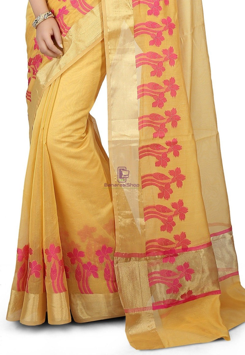 Woven Banarasi Chanderi Silk Saree in Yellow 2