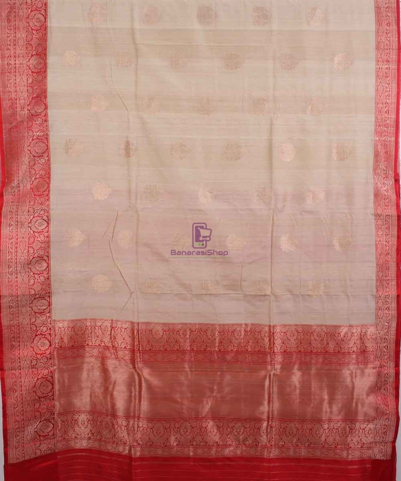 Pure Banarasi Tussar Handwoven off white Silk Saree 2
