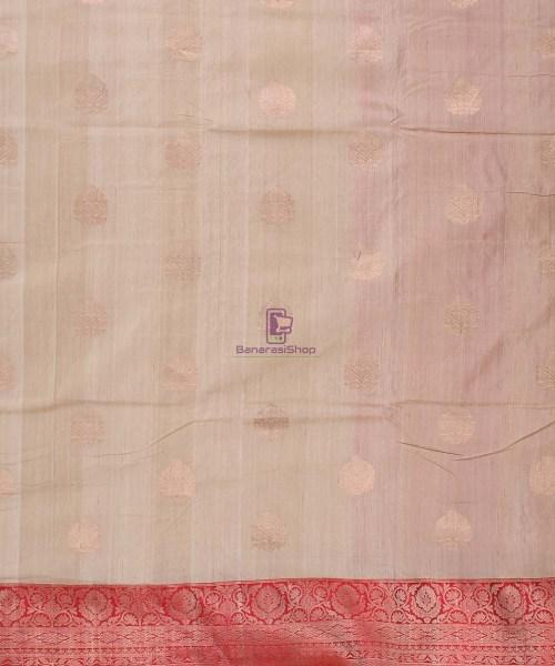 Pure Banarasi Tussar Handwoven off white Silk Saree 5