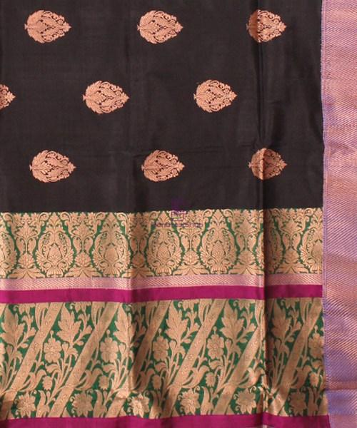 Banarasi Pure Katan Silk Handloom Saree in Black Green 6