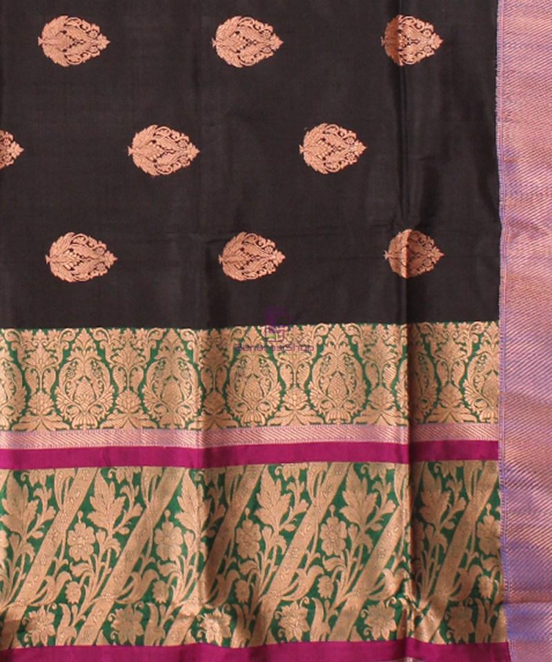 Banarasi Pure Katan Silk Handloom Saree in Black Green 3