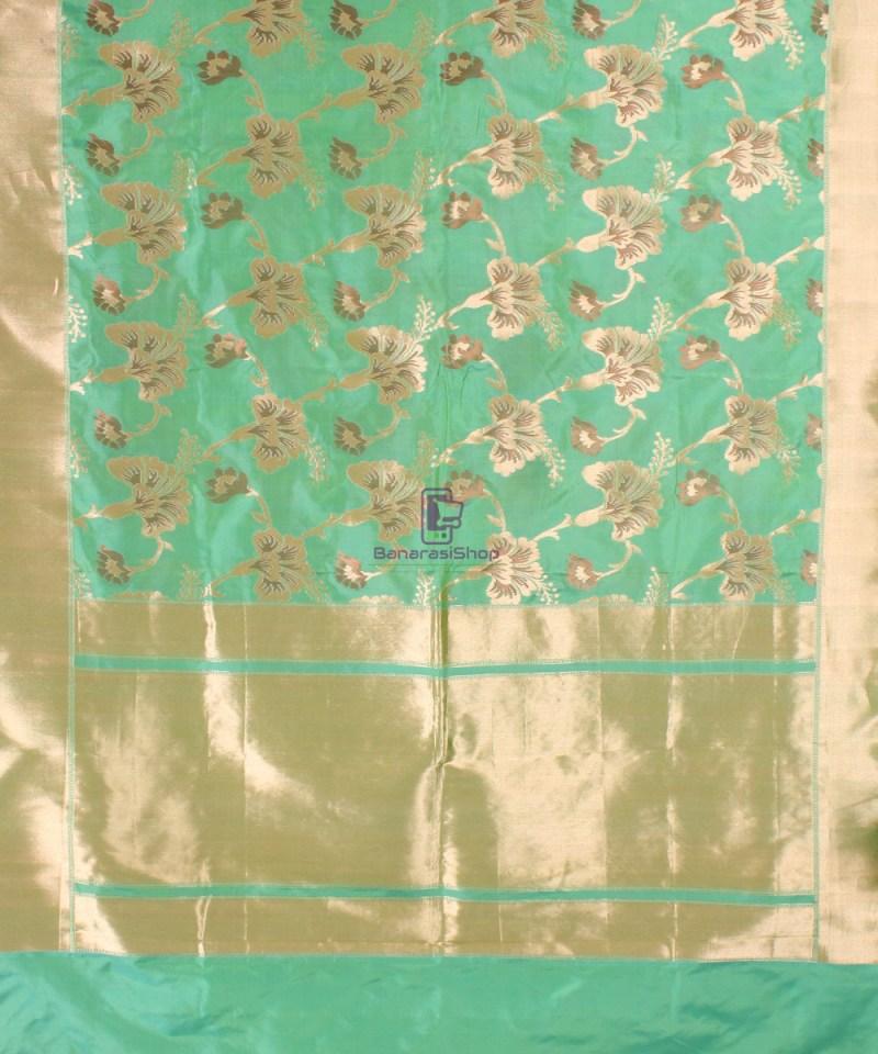 Pure Banarasi Uppada Handloom Silk Saree in Mint Green 2