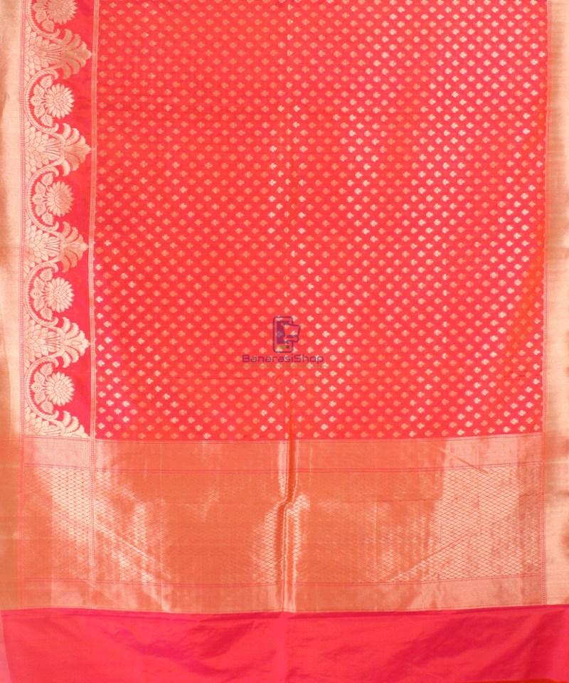 Pure Banarasi Uppada Handloom Silk Saree in Rose Red 2