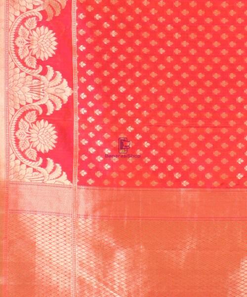 Pure Banarasi Uppada Handloom Silk Saree in Rose Red 6