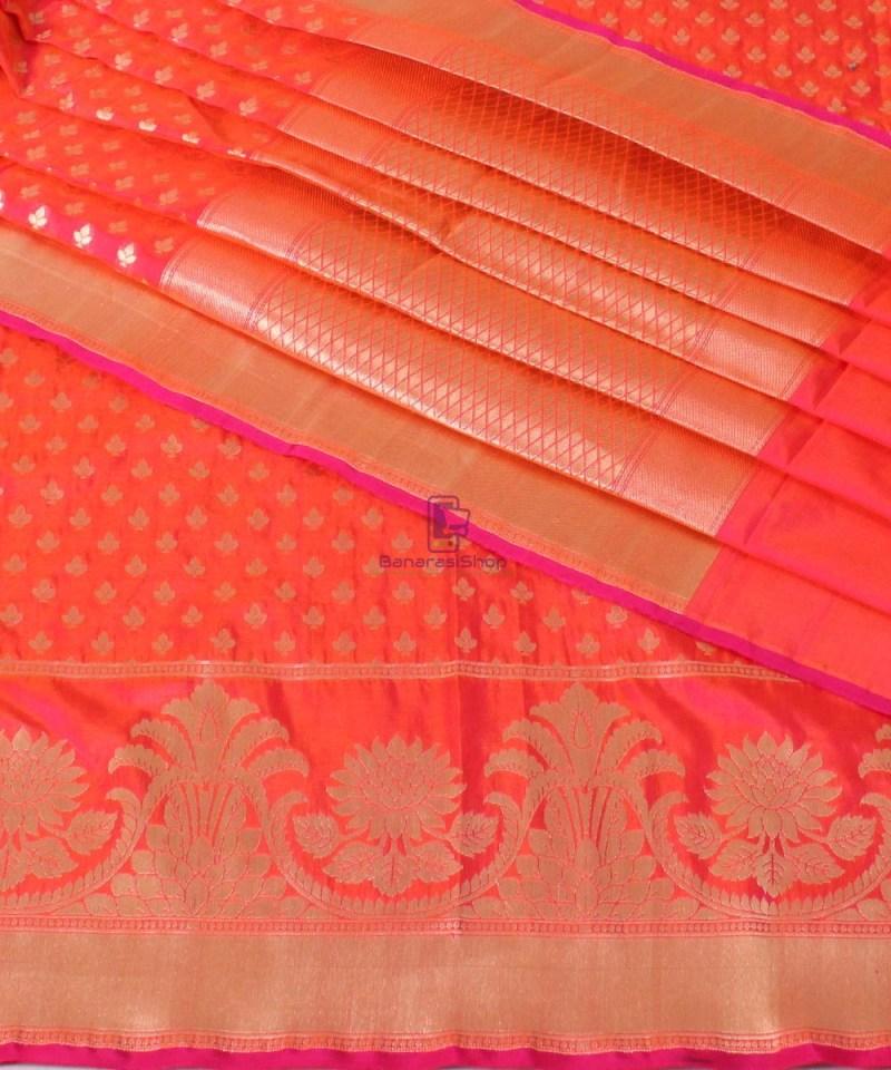 Pure Banarasi Uppada Handloom Silk Saree in Rose Red 1