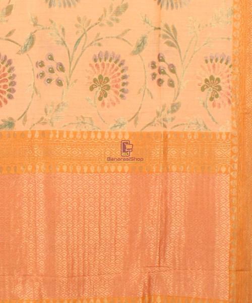 Pure Banarasi Muga Silk Handloom Saree in Cream Golden yellow 6
