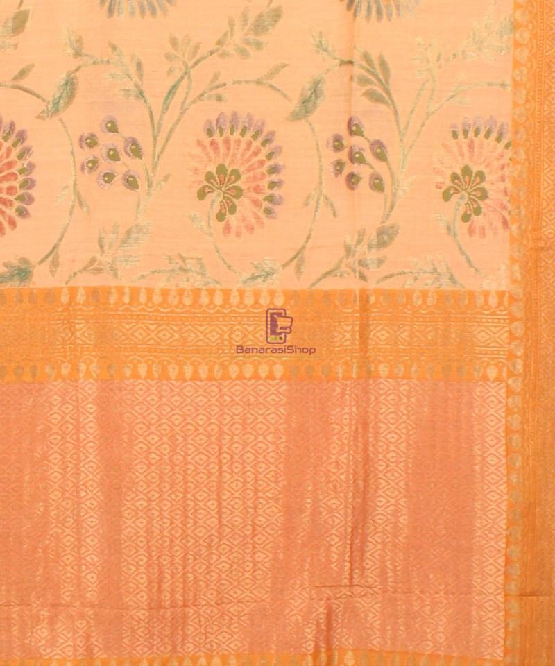 Pure Banarasi Muga Silk Handloom Saree in Cream Golden yellow 3