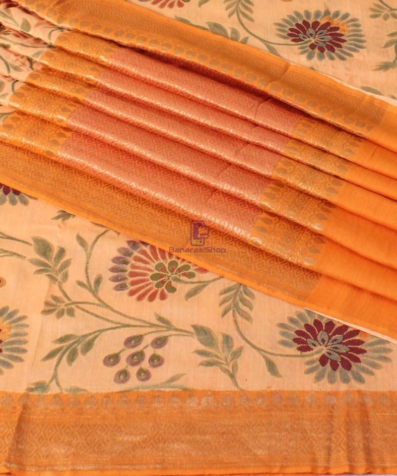 Pure Banarasi Muga Silk Handloom Saree in Cream Golden yellow 1