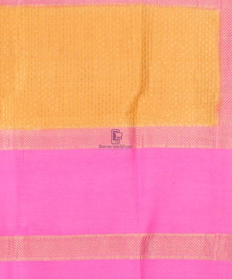 Pure Banarasi Muga Silk Handpainted Jaal Saree in Beige 4