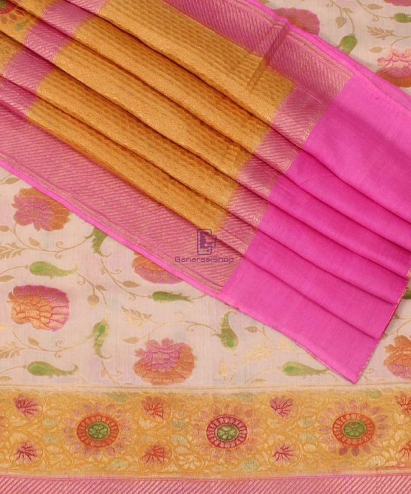 Pure Banarasi Muga Silk Handpainted Jaal Saree in Beige 1