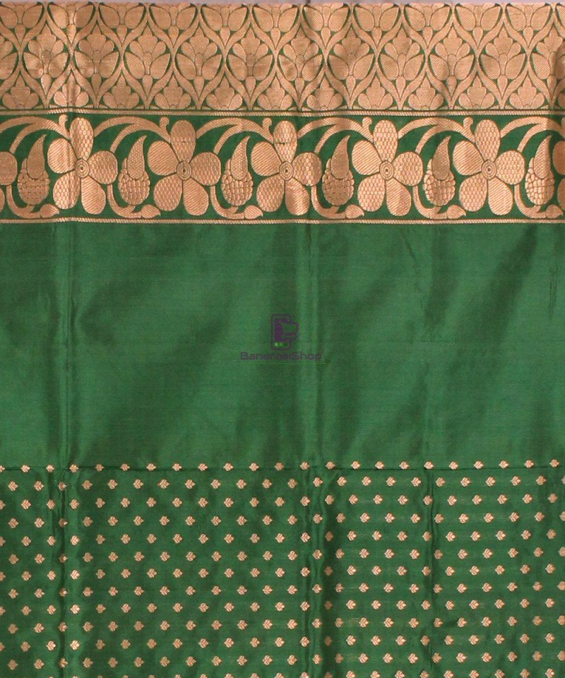 Banarasi Pure Katan Silk Handloom Saree in Yellow Green 4