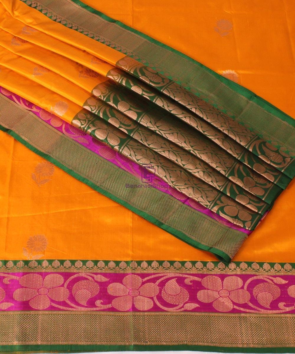 f9bc075ac2 Banarasi Pure Katan Silk Handloom Saree In Yellow Green | BanarasiShop