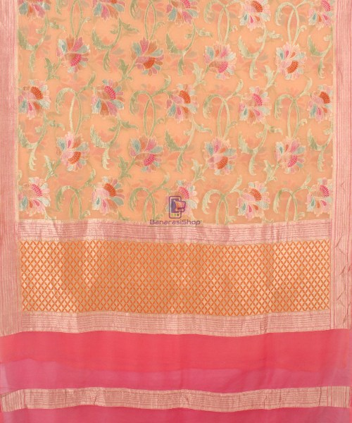 Pure Banarasi Handpainted Khaddi Georgette Silk Saree in Cream 5
