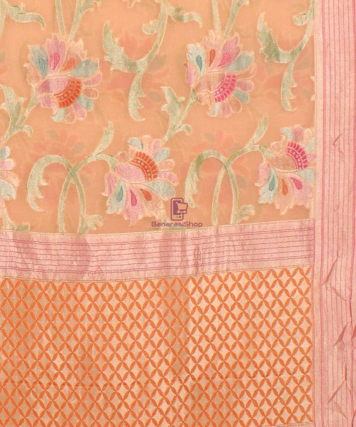 Pure Banarasi Handpainted Khaddi Georgette Silk Saree in Cream 6