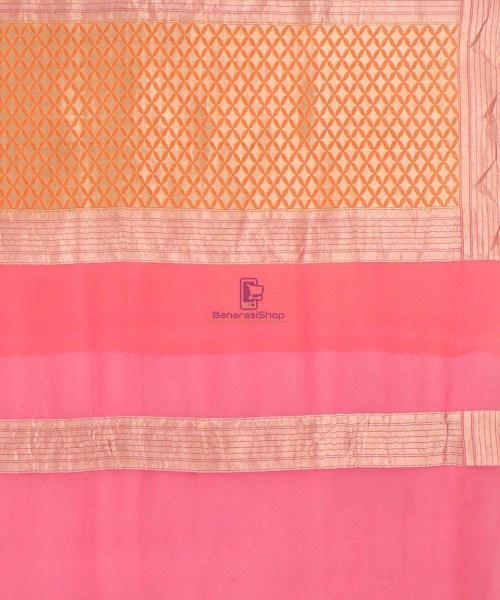 Pure Banarasi Handpainted Khaddi Georgette Silk Saree in Cream 7