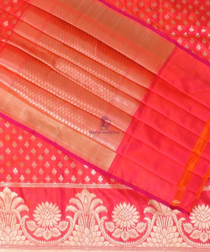 Pure Banarasi Uppada Handloom Silk Saree in Bright Red 1