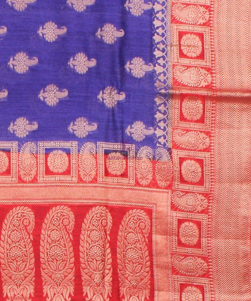 Pure Banarasi Muga Silk Saree in  Violet and Red 6