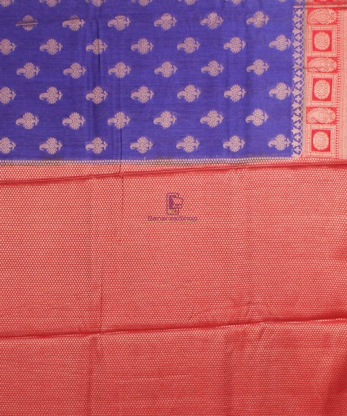 Pure Banarasi Muga Silk Saree in  Violet and Red 7
