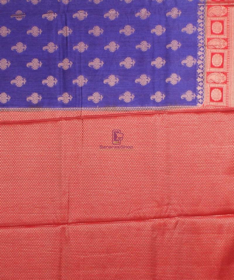 Pure Banarasi Muga Silk Saree in  Violet and Red 4