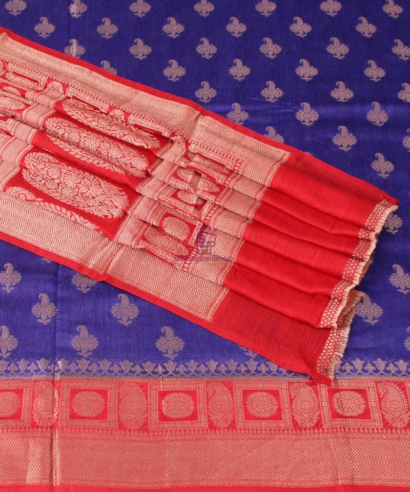 Pure Banarasi Muga Silk Saree in  Violet and Red 1