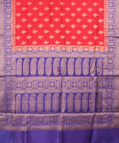 Pure Banarasi Muga Silk Saree in Red Orange and Violet 5