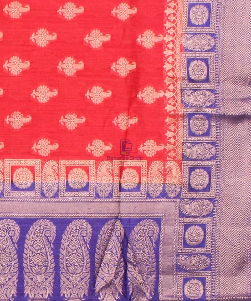 Pure Banarasi Muga Silk Saree in Red Orange and Violet 3
